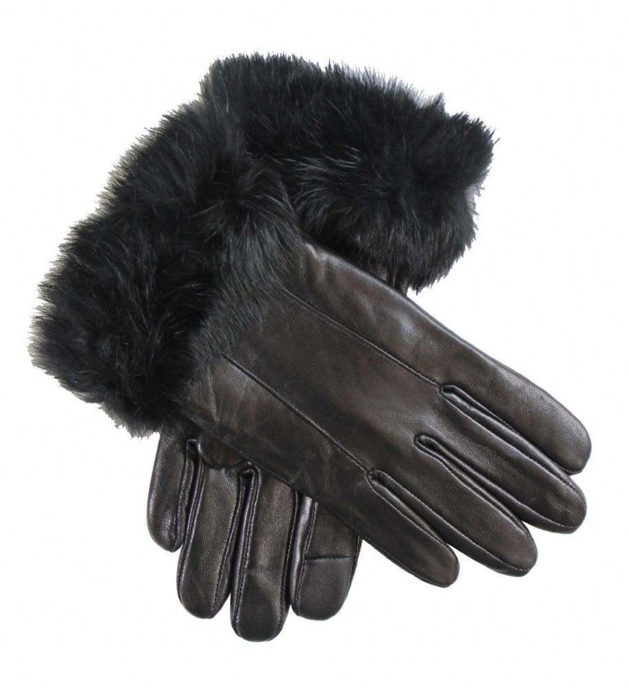 Ladies black touch screen leather gloves